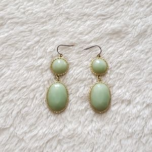 Light Green and Gold Oval Drop Earrings